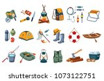 camping icon set. tourist... | Shutterstock .eps vector #1073122751