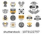 vector set of retro fitness... | Shutterstock .eps vector #1073122757