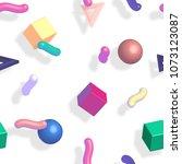 memphis 80s 3d pattern with... | Shutterstock . vector #1073123087
