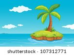 illustration of a palm tree on... | Shutterstock .eps vector #107312771