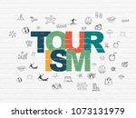 tourism concept  painted... | Shutterstock . vector #1073131979