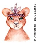 Stock photo cute wild boho animal lion portrait with feathers watercolor illustration perfect for nursery 1073133569