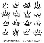 Crown Logo Graffiti Icon. Blac...