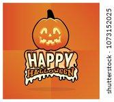 happy halloween typography | Shutterstock .eps vector #1073152025