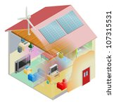 Energy efficient home house with cavity wall and loft insulation, wind turbine and solar panels on the roof. - stock photo