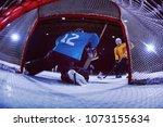 ice hockey goalkeeper  player... | Shutterstock . vector #1073155634