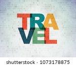 tourism concept  painted... | Shutterstock . vector #1073178875