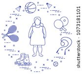 fat girl  badminton rackets and ... | Shutterstock .eps vector #1073181101