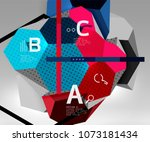 3d hexagon geometric... | Shutterstock .eps vector #1073181434