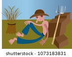 a plantation farmer resting out ... | Shutterstock .eps vector #1073183831