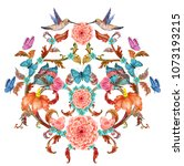 fancy floral vignette with... | Shutterstock . vector #1073193215