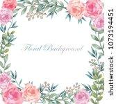 watercolor flower background...   Shutterstock .eps vector #1073194451
