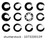 set of black ink round brush... | Shutterstock .eps vector #1073200139