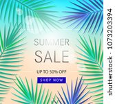 summer sale banner with... | Shutterstock .eps vector #1073203394