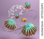 3d rendering abstract geometric ... | Shutterstock . vector #1073212691