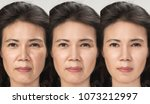 anti aging process  asian woman ... | Shutterstock . vector #1073212997