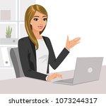 pretty businesswoman is working ... | Shutterstock .eps vector #1073244317