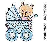 doodle bear teddy animal inside ... | Shutterstock .eps vector #1073251961