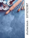 baking tools and ingredients... | Shutterstock . vector #1073252387