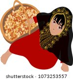girl with traditional emirate... | Shutterstock .eps vector #1073253557
