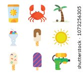 set of 9 summer flat icons such ... | Shutterstock .eps vector #1073256305
