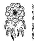 hand drawn bohemian vector... | Shutterstock .eps vector #1073258054