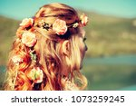 beautiful young woman with... | Shutterstock . vector #1073259245