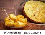 jackfruit  on wood background | Shutterstock . vector #1073268245