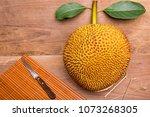 jackfruit  on wood background | Shutterstock . vector #1073268305