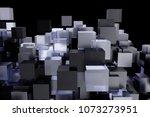 3d background glass cubes of... | Shutterstock . vector #1073273951