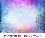 mandala's on a blue and purple... | Shutterstock . vector #1073279177