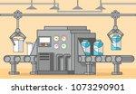 milk factory conveyor belt of a ...   Shutterstock .eps vector #1073290901