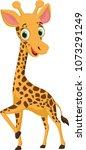 cute giraffe cartoon | Shutterstock .eps vector #1073291249