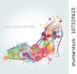 abstract floral shoes | Shutterstock .eps vector #107329625