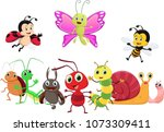 illustration of happy insect... | Shutterstock .eps vector #1073309411