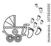cute pram baby girl newborn... | Shutterstock .eps vector #1073310335