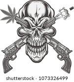 skull tattoo. life is short  | Shutterstock .eps vector #1073326499