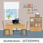 office room interior design...   Shutterstock .eps vector #1073334941
