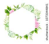 green leaves and rose flowers... | Shutterstock .eps vector #1073344841