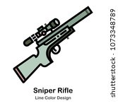 sniper rifle with scope line... | Shutterstock .eps vector #1073348789