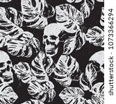 skull and leaves print pattern... | Shutterstock .eps vector #1073366294