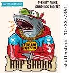 big white shark   gangster... | Shutterstock .eps vector #1073377361