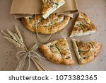 ramadan bread  pide  slices and ... | Shutterstock . vector #1073382365