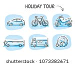 icon set travel holidays ... | Shutterstock .eps vector #1073382671