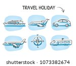 icon set travel holidays ... | Shutterstock .eps vector #1073382674