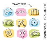 icon set travel holidays ... | Shutterstock .eps vector #1073383649