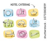 hotel restaurant icon set  with ... | Shutterstock .eps vector #1073383859