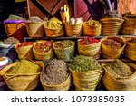 herbs and spices kept in bags... | Shutterstock . vector #1073385035