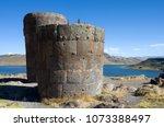 funerary tower at sillustani ... | Shutterstock . vector #1073388497