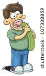 man eating cucumber | Shutterstock .eps vector #107338859